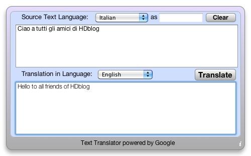 Google Translate nella Dashboard del vostro Mac