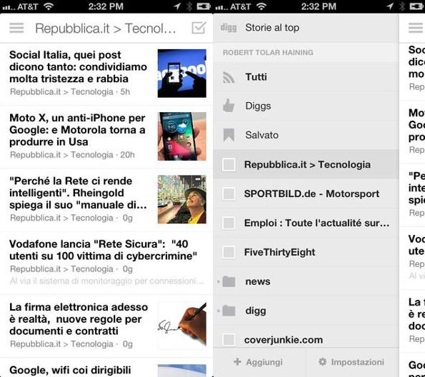 Digg si aggiorna su iOS e migliora il proprio lettore di feed RSS